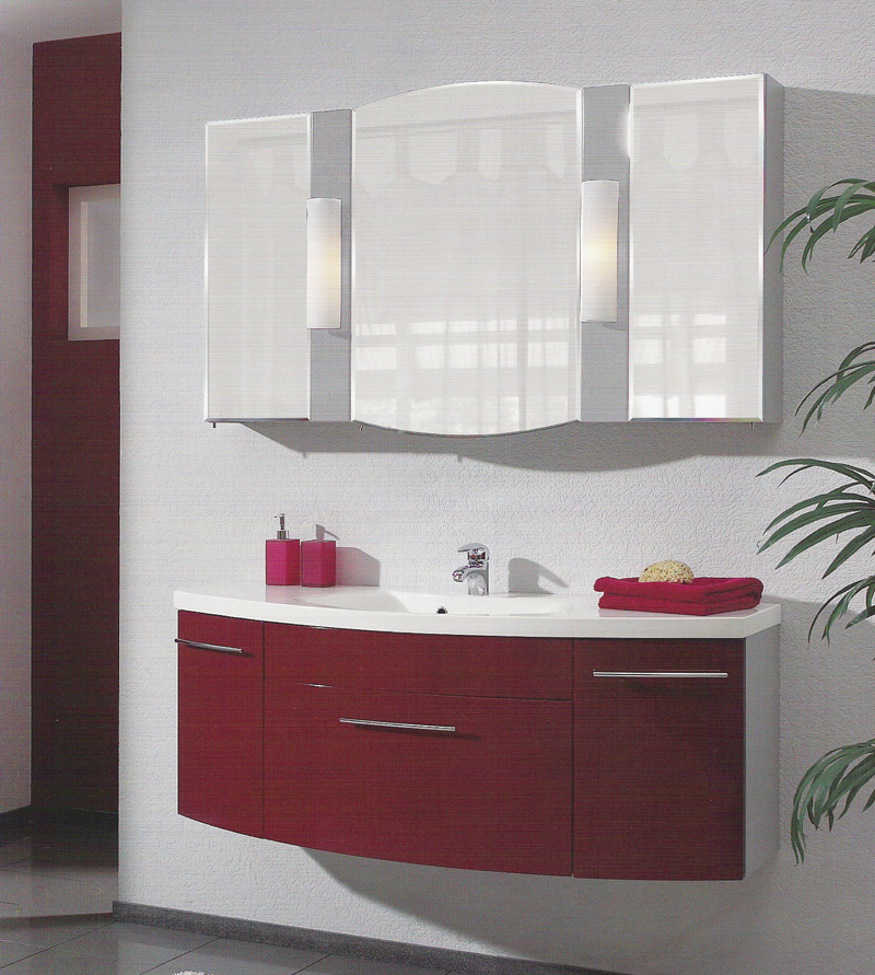 Pelipal Badmöbel HUEVO 02 - Rot / Metall Dekor 130 cm Spiegelschrank Waschtisch  eBay