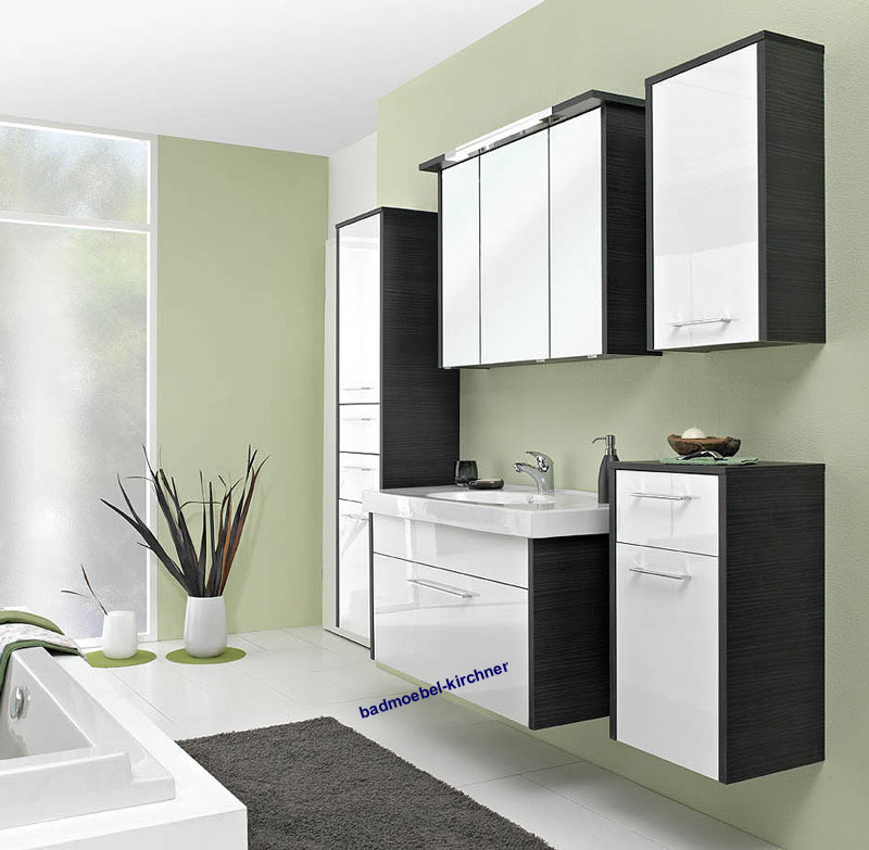 pelipal badm bel ortego wei hochglanz schwarz 100 cm ebay. Black Bedroom Furniture Sets. Home Design Ideas