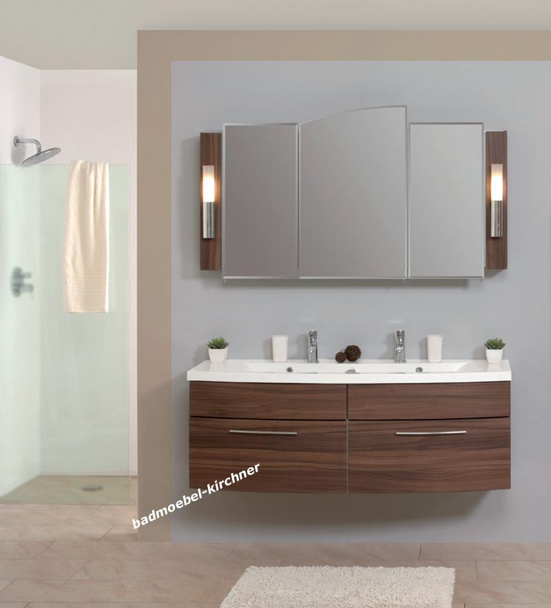puris badm bel giro spiegelschrank doppel waschtisch 140 cm nussbaum dijon ebay. Black Bedroom Furniture Sets. Home Design Ideas