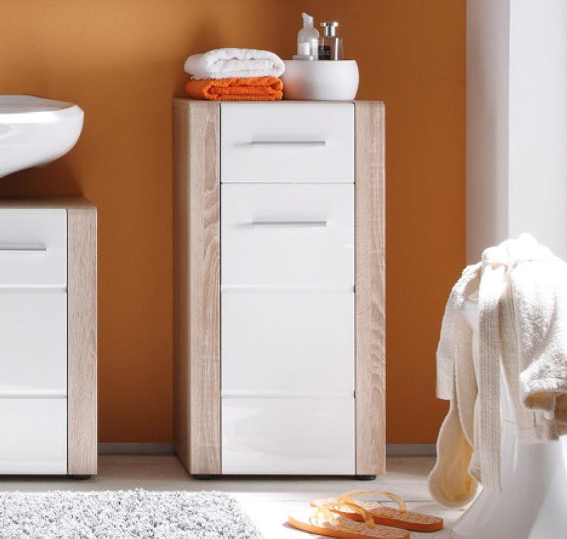 trendteam badm bel tila kommode 40 cm wei hochglanz eiche s gerau hell nb ebay. Black Bedroom Furniture Sets. Home Design Ideas