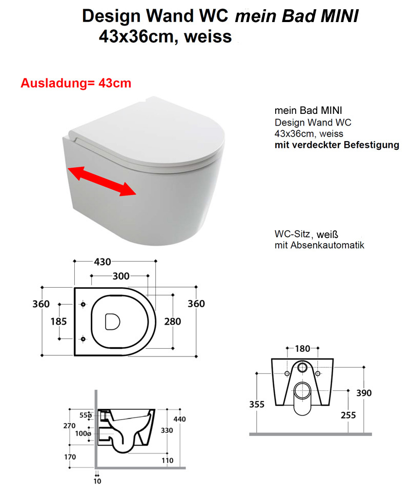 Mini Dusche Wc : mein Bad – MINI – Design Tiefsp?l-WC – 43 cm Ausladung / Tiefe